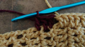 I switched to some red yarn so you could, hopefully, see where to insert your hook for this part.