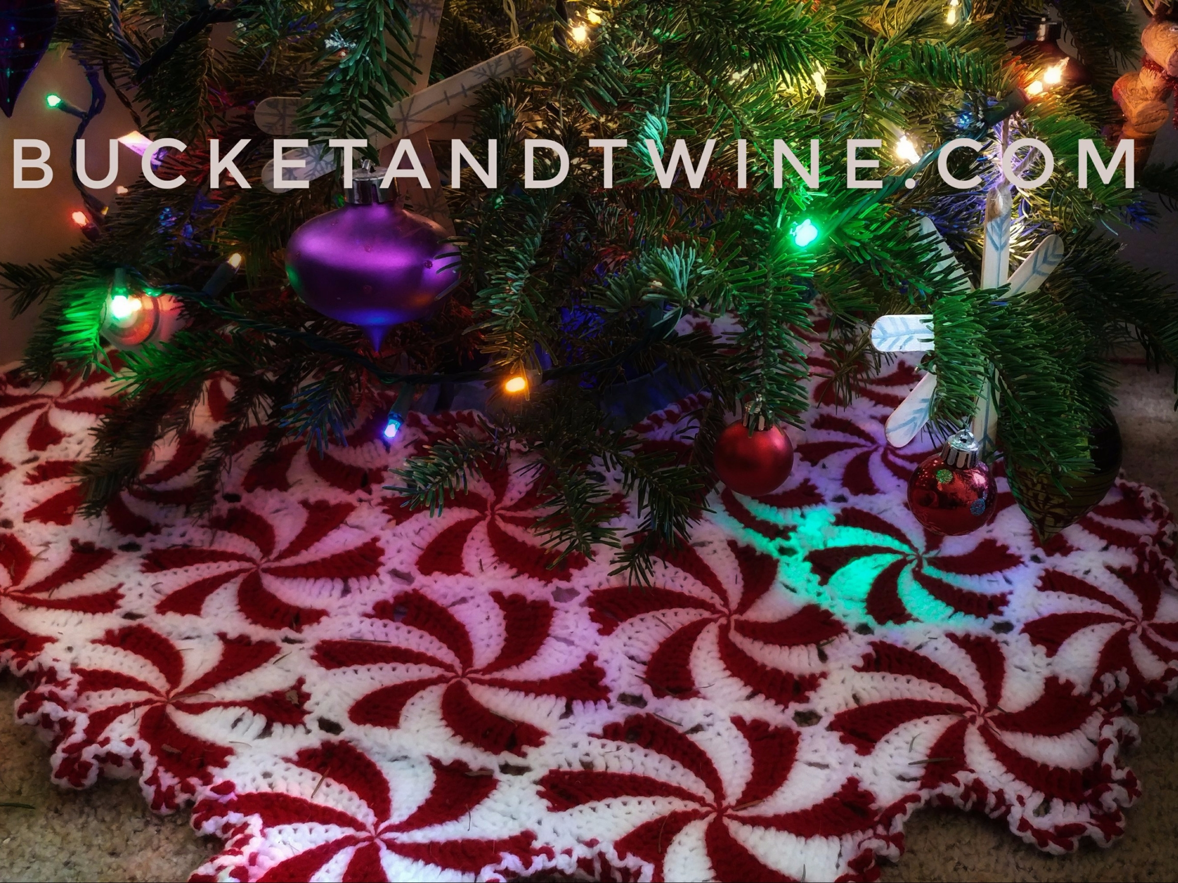 peppermint candy afghan christmas tree skirt crochet
