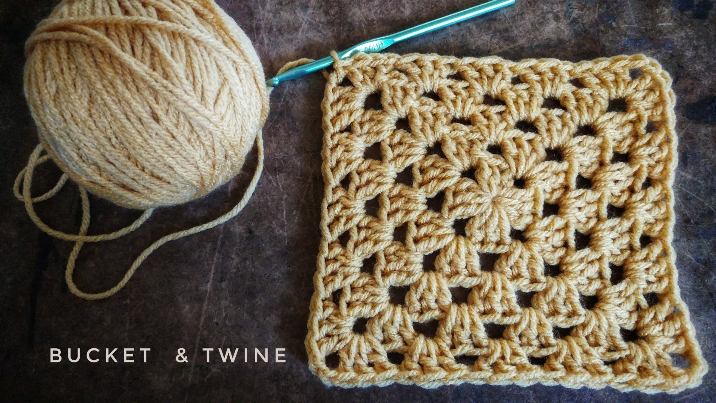 Granny square magic circle standing double crochet
