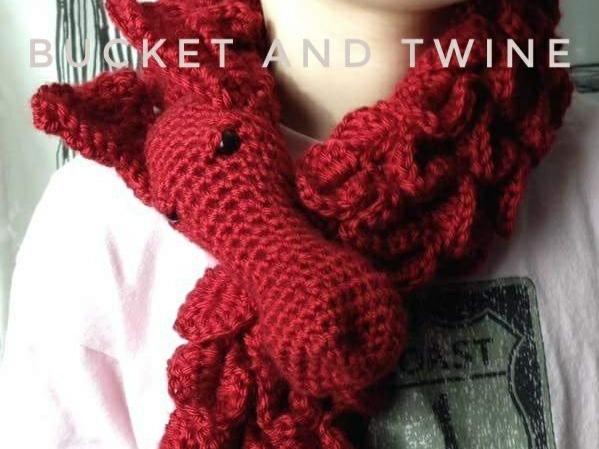 crocodile stitch, Caron Simply Soft, dragons, scarf