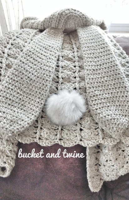 crochet hooded bunny rabbit ears cape cardigan